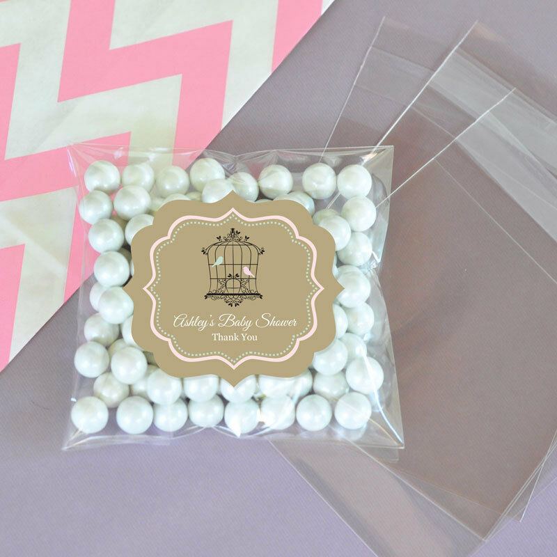 Wedding Favor Bags Under USD1 : ... Love Birds Personalized Clear Candy Bags Wedding Favors eBay