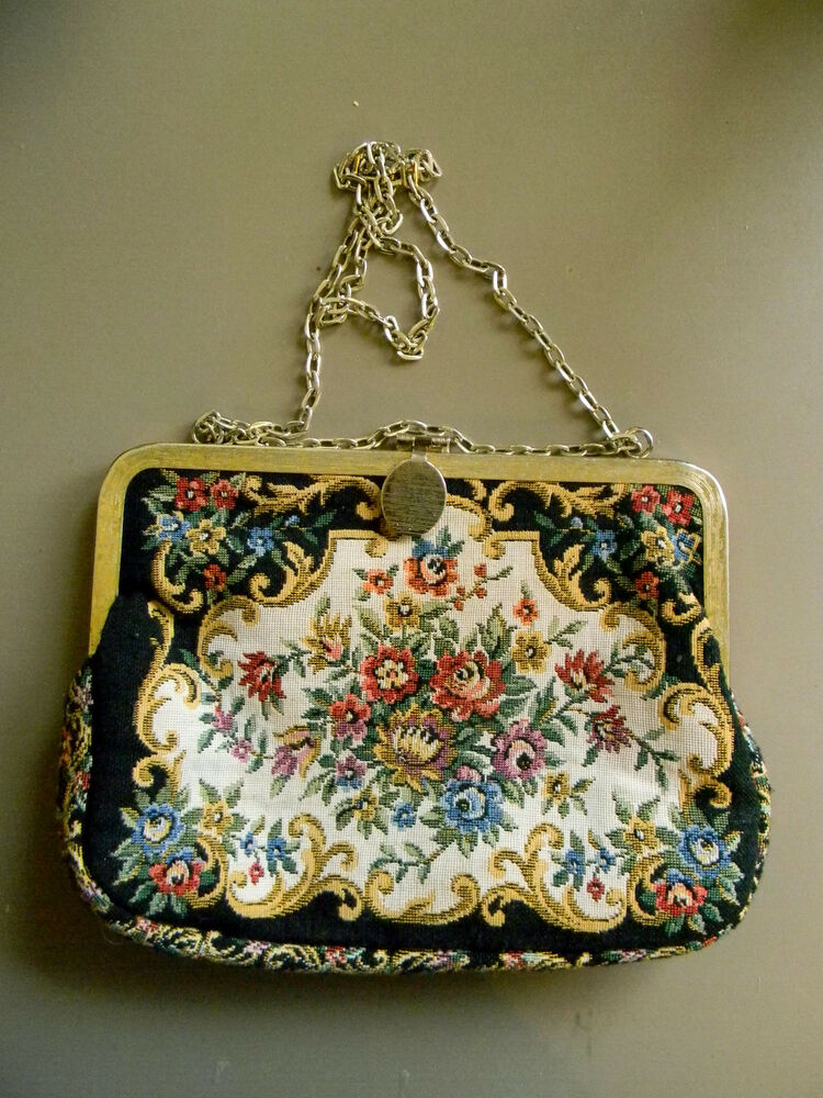 Vintage embroidered clutch with chain made in hong kong