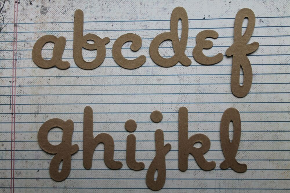 script lowercase chipboard 2 inch tall alphabet diecuts 26 With 2 inch chipboard letters