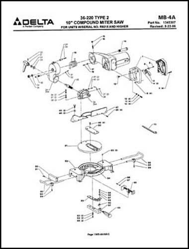 Delta 36 220 10 Inch Compound Miter Saw Parts Manual Ebay