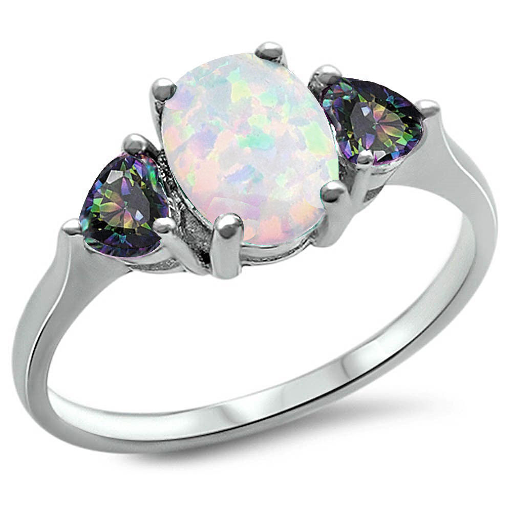 Best Sell White Fire Opal Amp Rainbow Cz 925 Sterling