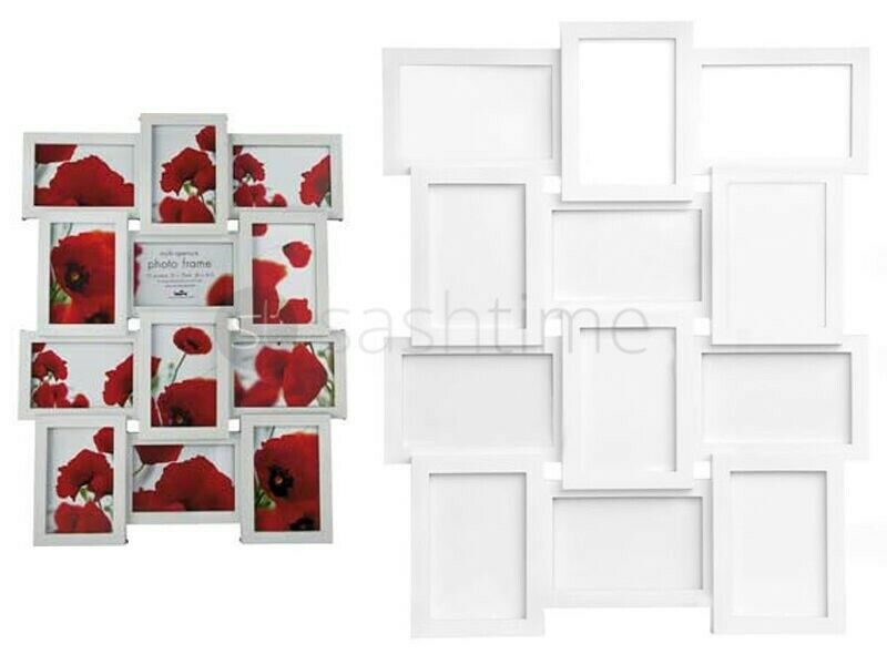 STYLISH WHITE PHOTO PICTURE FRAME HOLDS 12 PHOTOS APERTURE MULTI ...