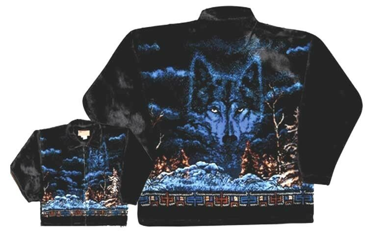Mystic Wolf Native Plush Fleece Jacket New Xs 2x Ebay