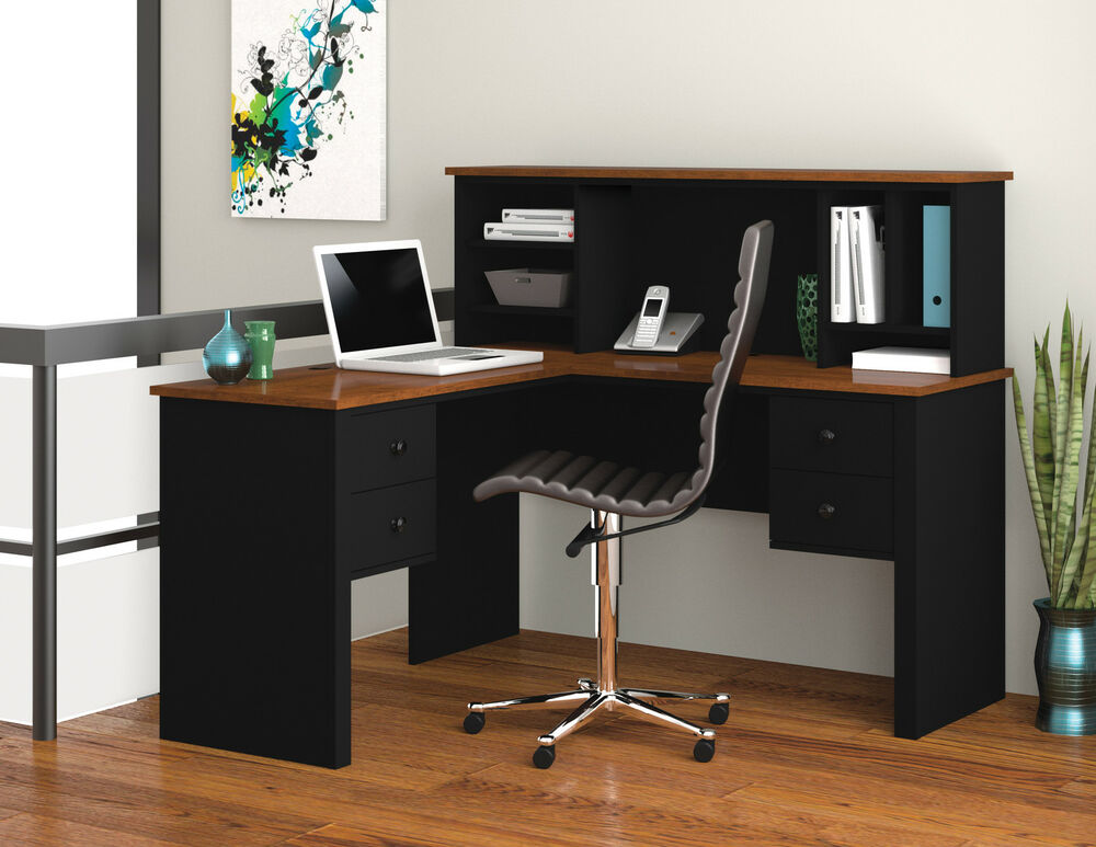 Bestar Somerville L-Shaped Office Desk with hutch in Black & Tuscany