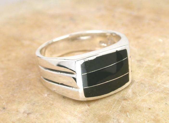 large thick mens sterling silver onyx inlay ring sz 9