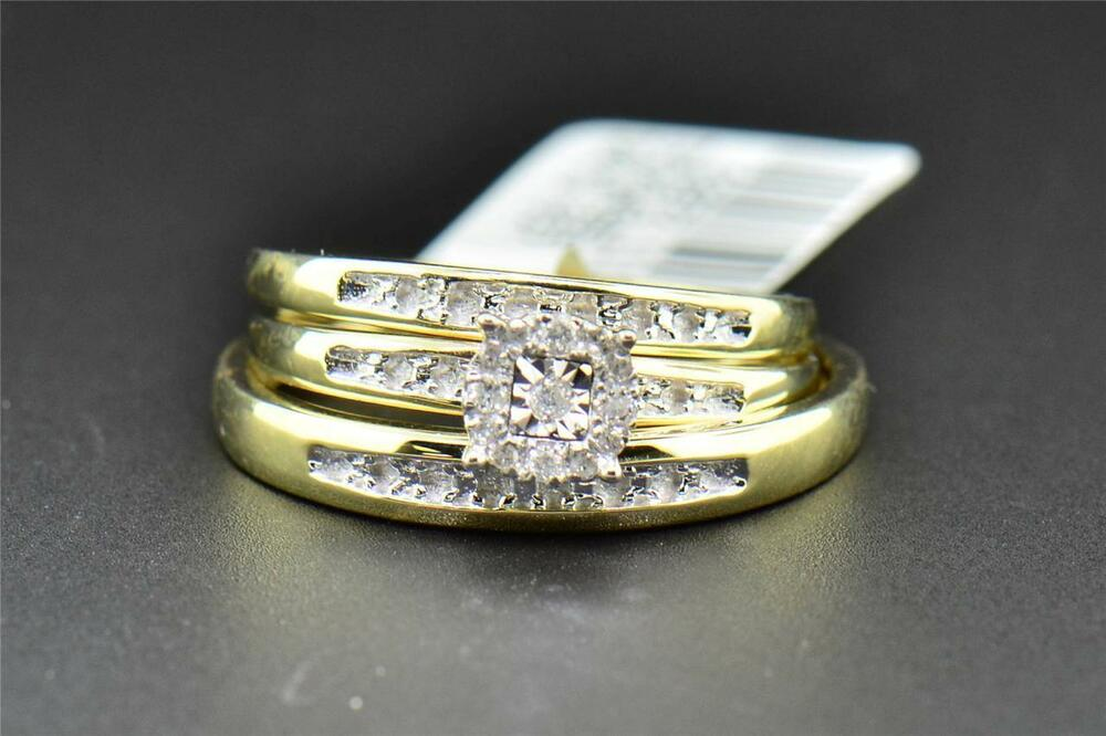 yellow gold wedding rings sets for his and her trio set his hers matching engagement ring wedding 1519