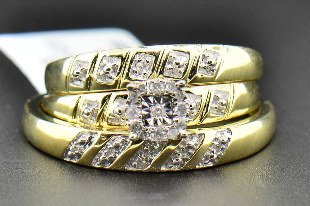 Diamond Trio Set His Hers Matching Engagement Ring Wedding Band 10K Yellow Go