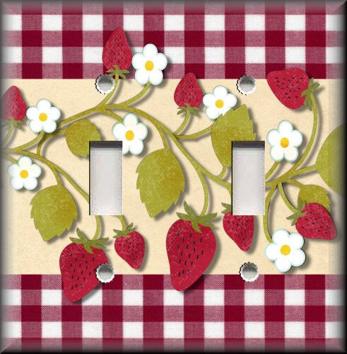 Light Switch Plate Cover Kitchen Strawberries Plaid