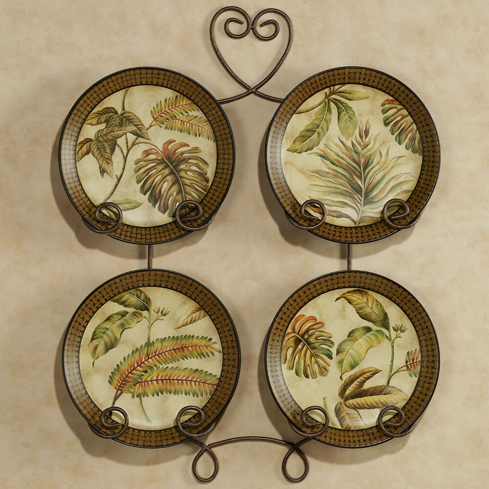 Decorative Wall Plates : Tropical palm leaf decorative plates set of rack not