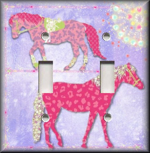Light switch plate cover pink horses girls room decor