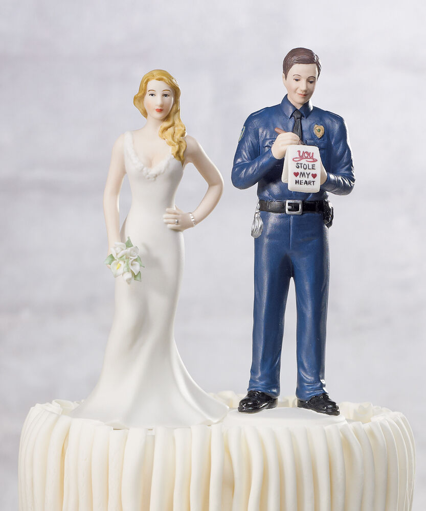 firefighter wedding cake toppers funny a citation officer and policeman 14267