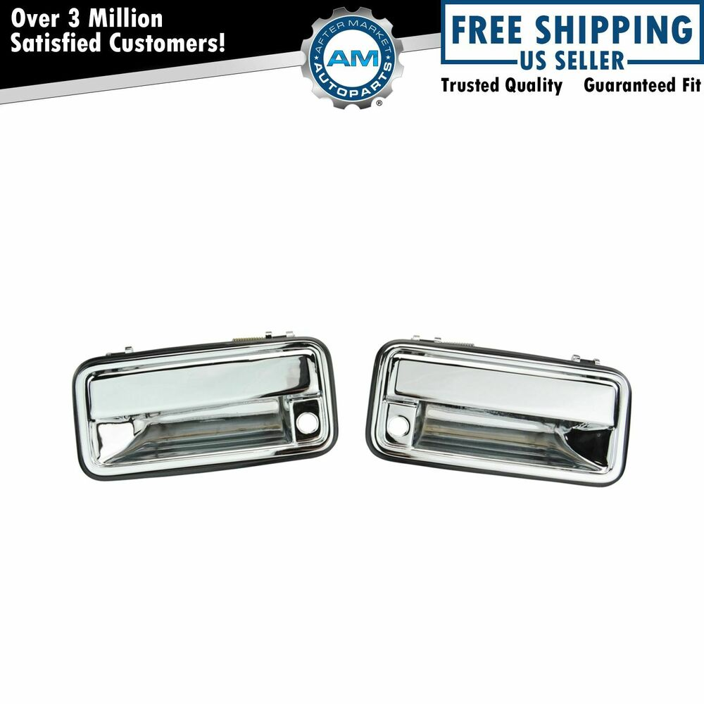 Chrome Outer Exterior Outside Door Handle Pair Set For 95 01 Chevy Gmc C K Truck Ebay