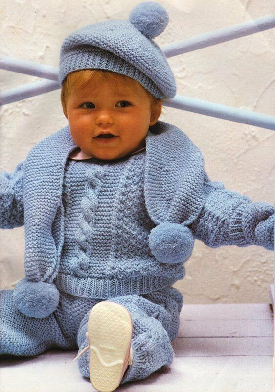 Felted Knit Hat Patterns : Baby Set - Sweater Trousers Beret Scarf & Mittens DK Knitting Pattern 17&...