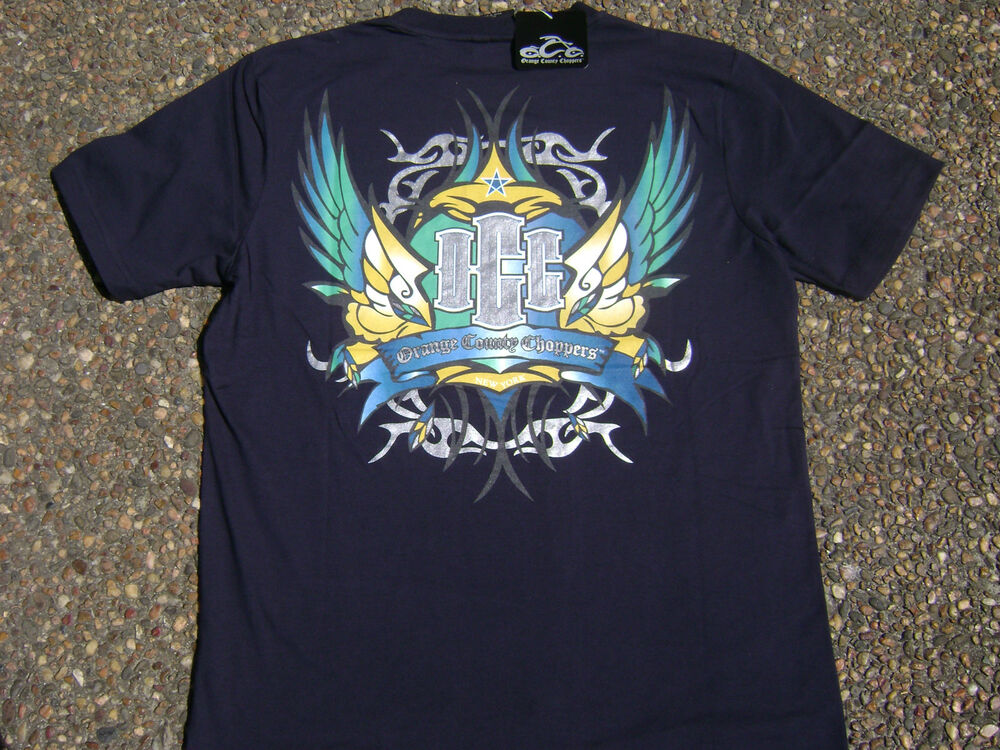 Occ official orange county choppers tattoo navy blue t for Custom dress shirts orange county