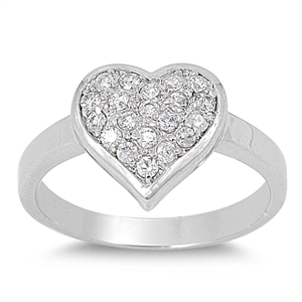 cute heart shaped sterling silver micropave cubic zirconia. Black Bedroom Furniture Sets. Home Design Ideas