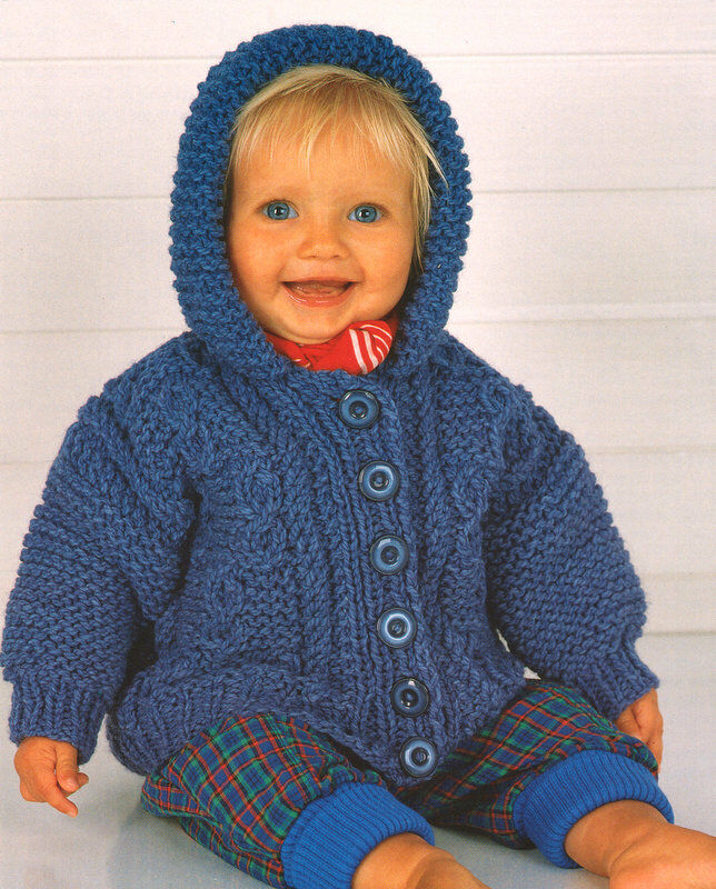 Knitting Patterns For Jackets Chunky : Chunky Cable Baby Jacket with Hood 18