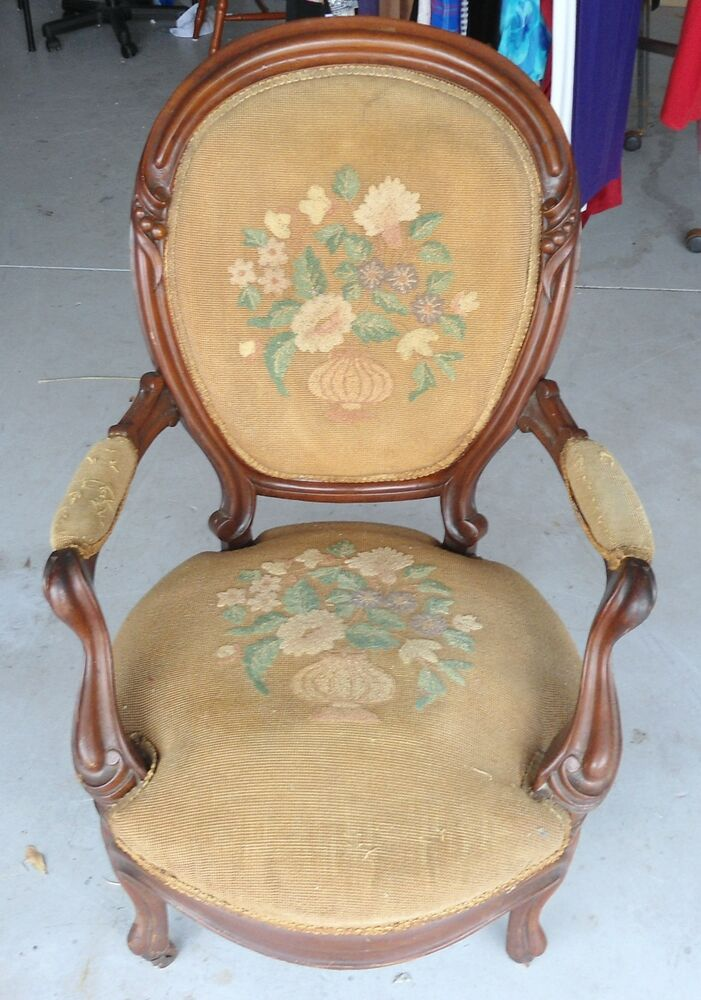 Final Chance Antique Needlepoint Arm Chair Early1900 S