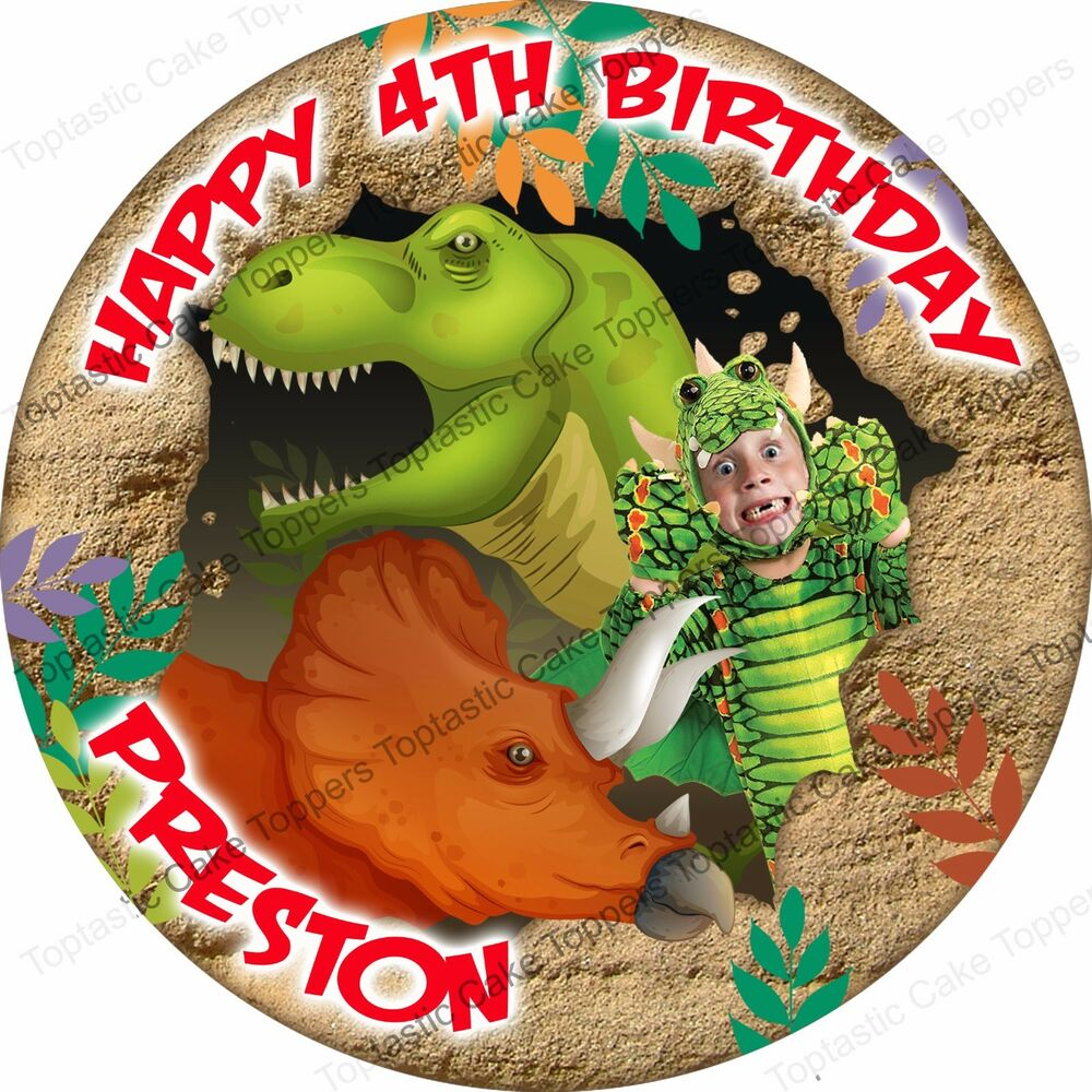 Personalised Dinosaurs Round Dinosaur + Own Face Photo ...