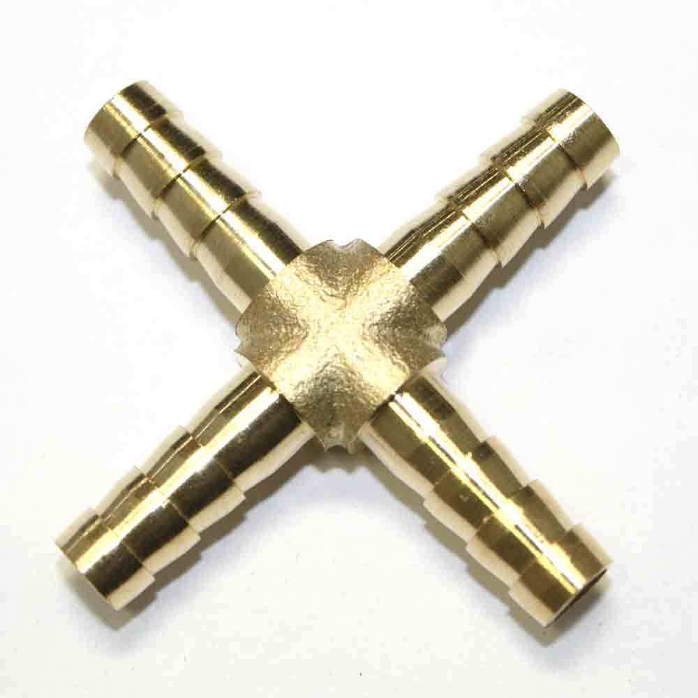 Brass cross fittings inch hose barb manifold fbx