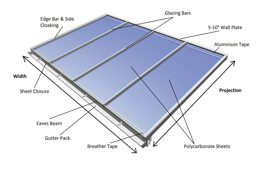 Lean To Conservatory Roof Kit Diy 2 5m Projection Self