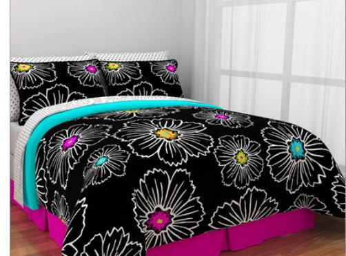Hot Pink Teal Amp Black Teen Girls Twin Comforter Set 6