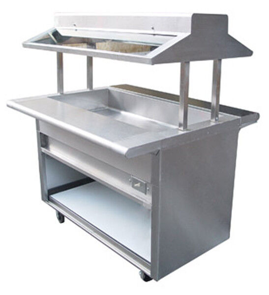 L j 48 electric s s buffet steam table w sneeze guard 3 pans 1 element ebt 48 ebay - Sneeze guard for steam table ...