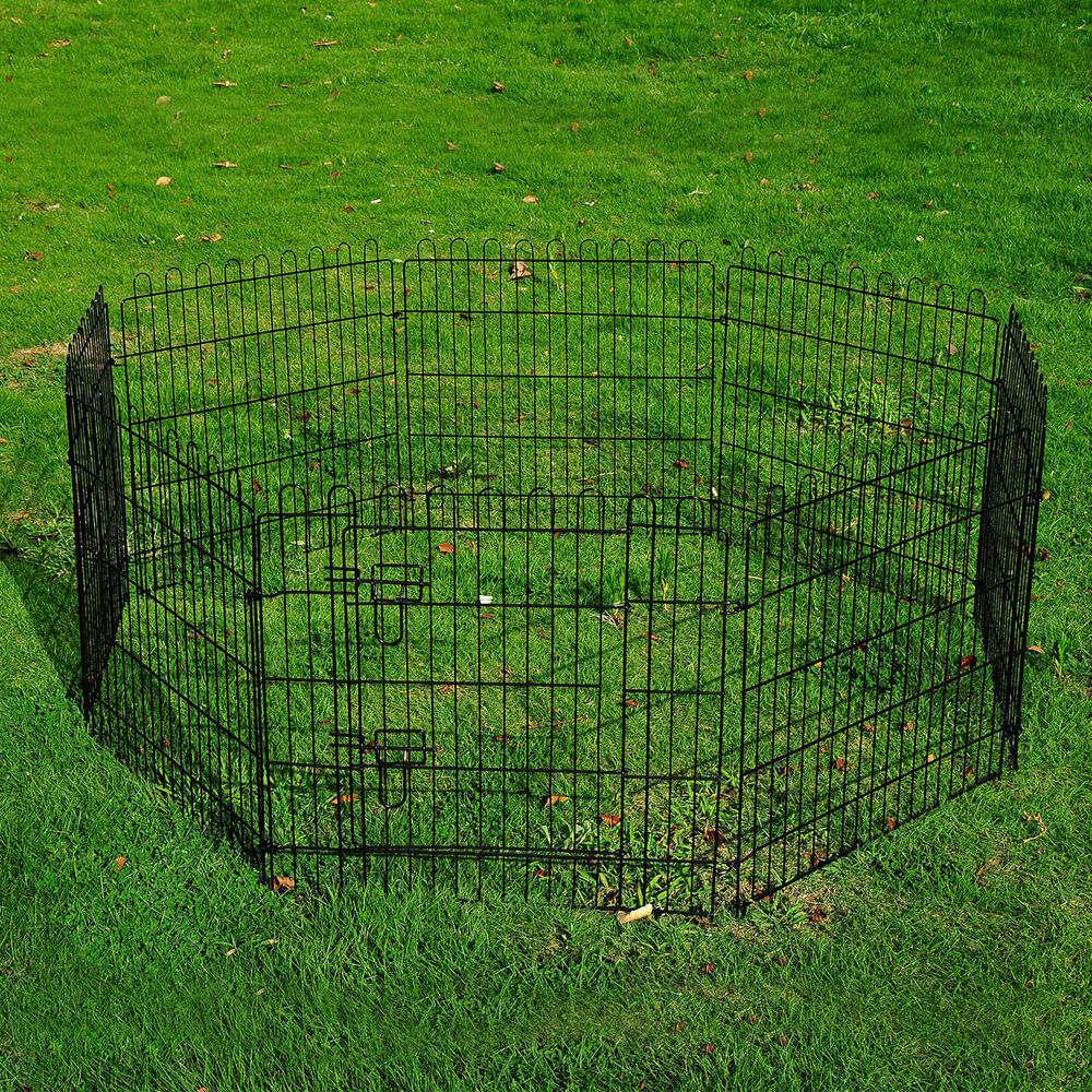 Metal Dog Pet Playpen 8 Panel Puppy Exercise Cage Crate Fence Black New Ebay
