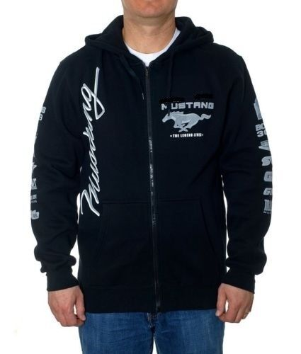 "Ford Mustang Shoes >> Ford Mustang Black Hoodie Full Zip Sweatshirt Jacket Screen Printed Logos ""SALE"" 