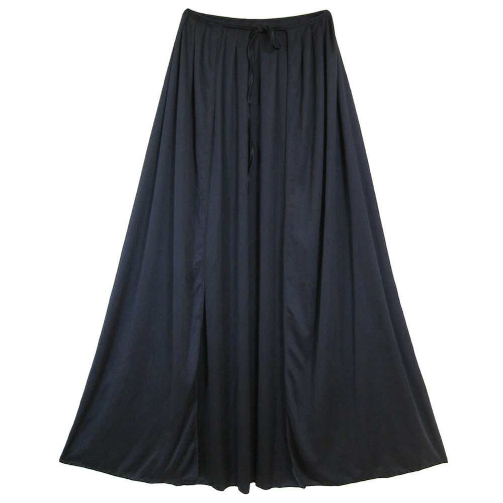 SeasonsTrading Black Cape made of smooth & stretchy premium polyester fabric with stand-up collar and tie closure. The edges feature overlock stitch finish to strengthen durability.