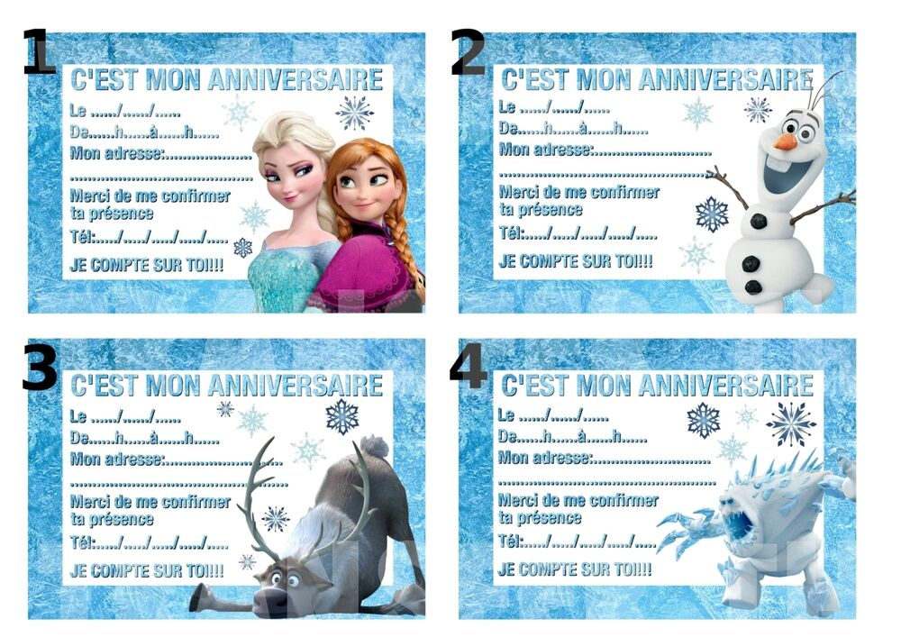 CARTE INVITATION ANNIVERSAIRE DISNEY REINE DES NEIGES FROZEN lot de 4,8 12 ou 16 | eBay