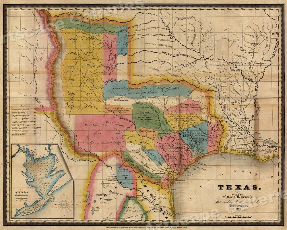 Buy Old Austin Texas Map Vintage Historical Map Antique: 1835 Historic Map Of Texas Land Grants - 20x24