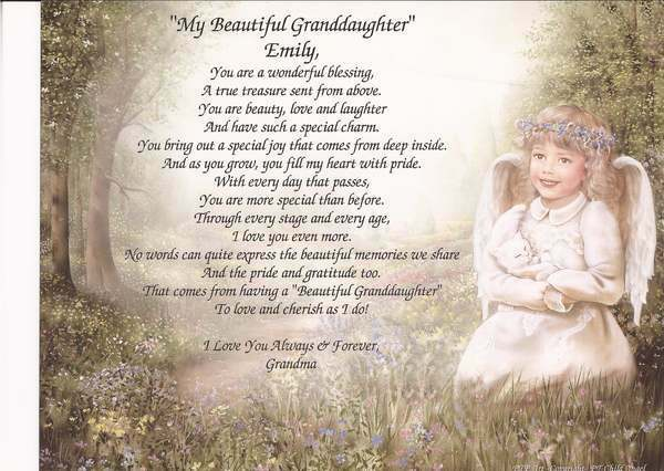 """My Beautiful Granddaughter"""" Personalized Poem- Unique Gift for B-day ..."""