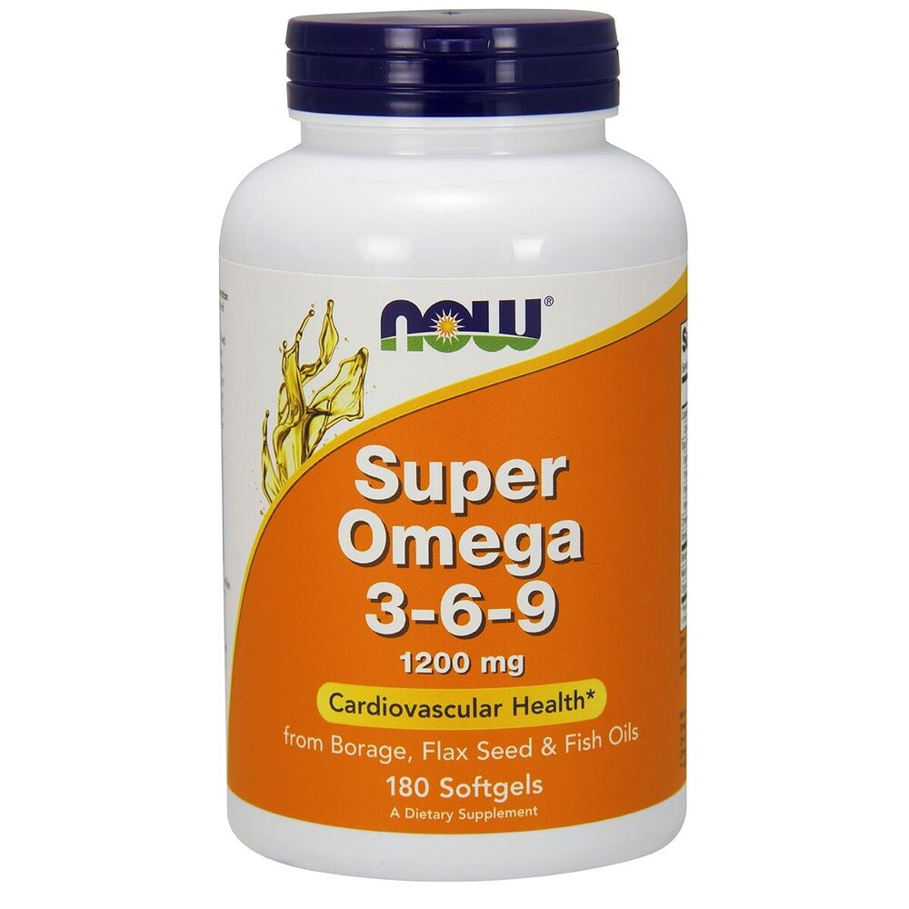 NOW Super Omega 3,6,9 Borage Flax Seed & Fish Oil 180 Softgels, EPA DHA, FRESH | eBay
