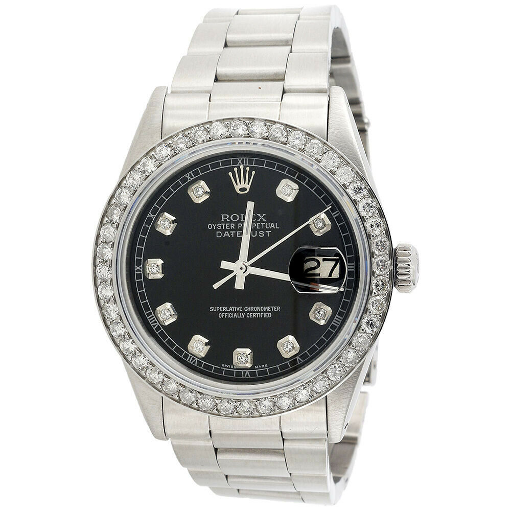 mens rolex 36mm datejust diamond watch oyster steel band. Black Bedroom Furniture Sets. Home Design Ideas