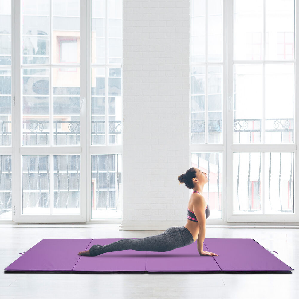 "4'x10'x2"" Portable Folding Gymnastics Mats Home Stretching"