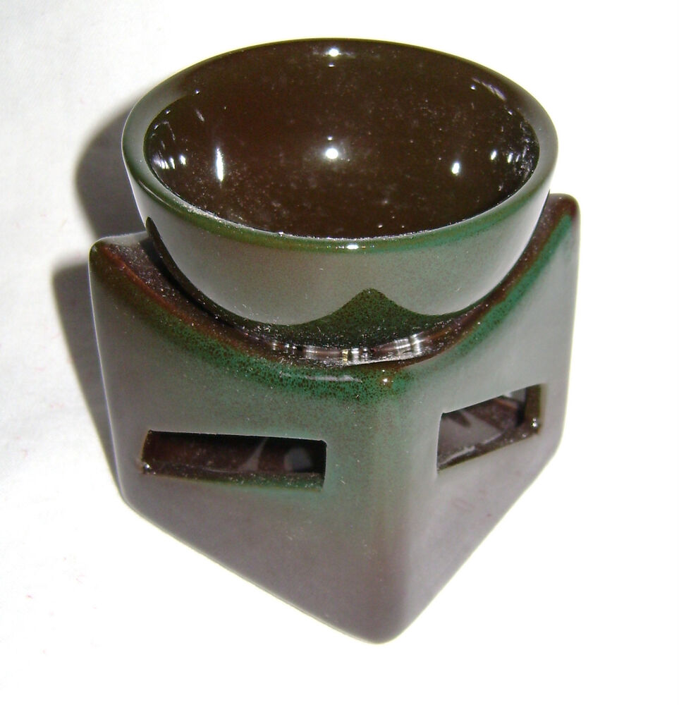 Ceramic Oil Burner ~ New ceramic two tone scented oil burner green brown b g