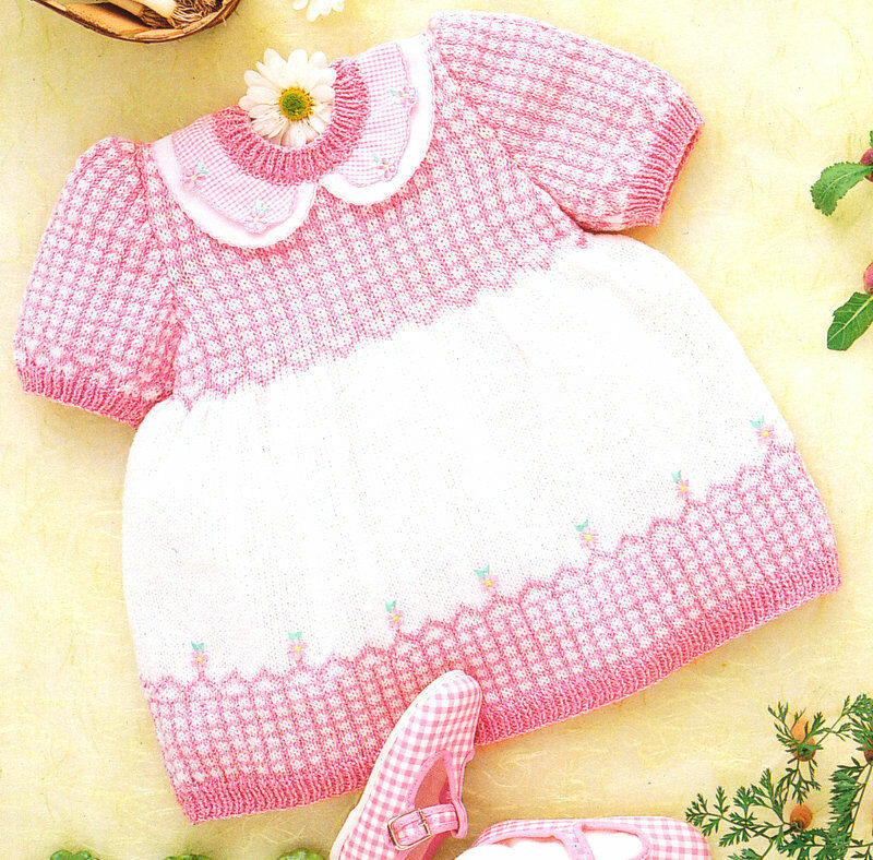 3 Ply Knitting Patterns Baby Free : Pretty Gingham Baby Dress & Cardigan 3-18 months 4 Ply Knitting Pattern ...