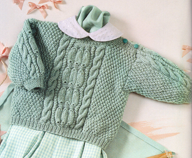 Free Knitting Pattern For Moss Stitch Baby Blanket : Cable & Moss Stitch Baby Sweater 3 - 24 months DK Knitting ...