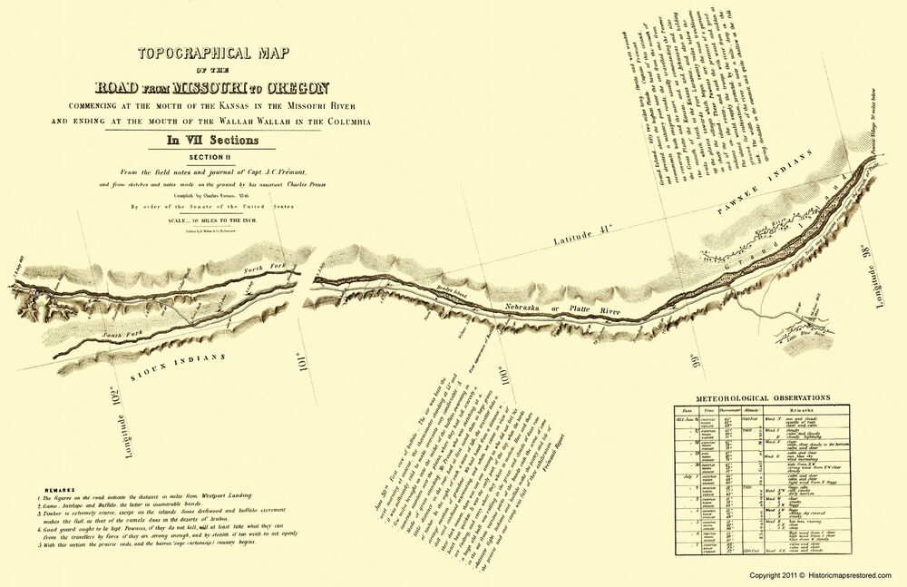 Topographical Map Oregon Trail Nebraska 2 Of 7 Fremont 1846 23