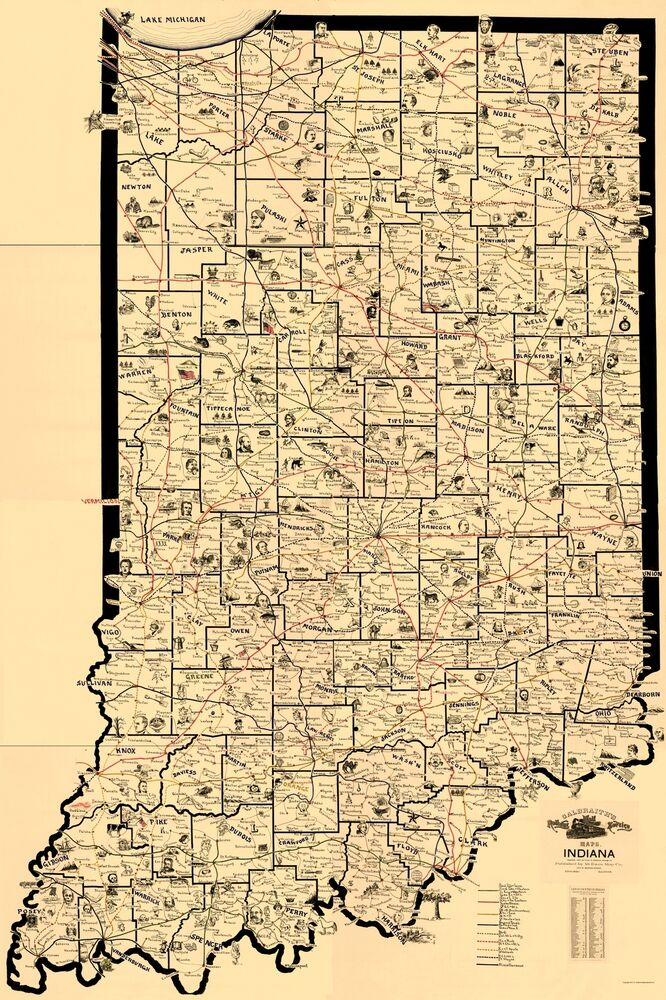Old Railroad Map  Indiana Railroad Routes  McEwen 1897