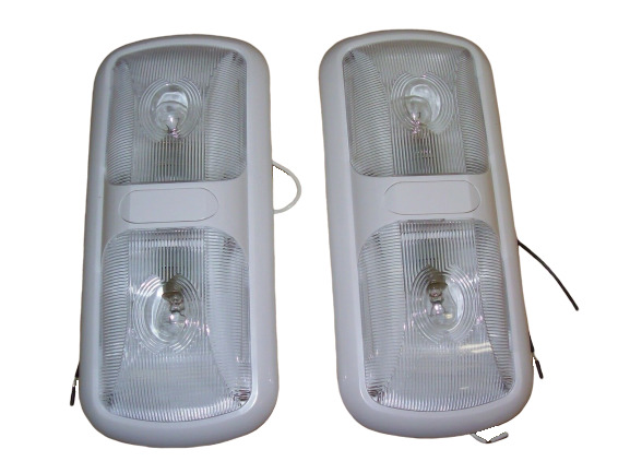 2 New Rv Trailer Camper Bus 12 Volt Double Dual Dome Light Fixture White Ebay