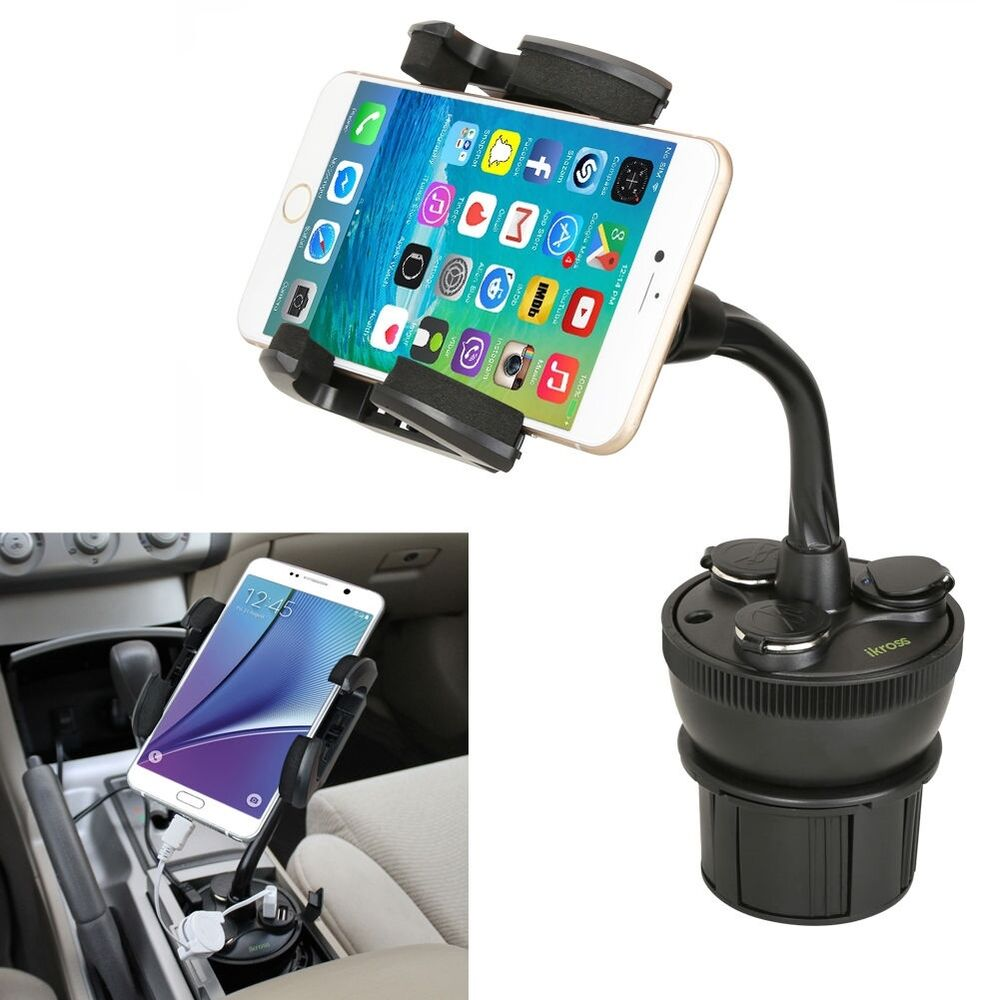 iKross Car Cup Mount Holder w/ 3 Socket & 2 USB Charger For iPhone LG Cell Phone | eBay