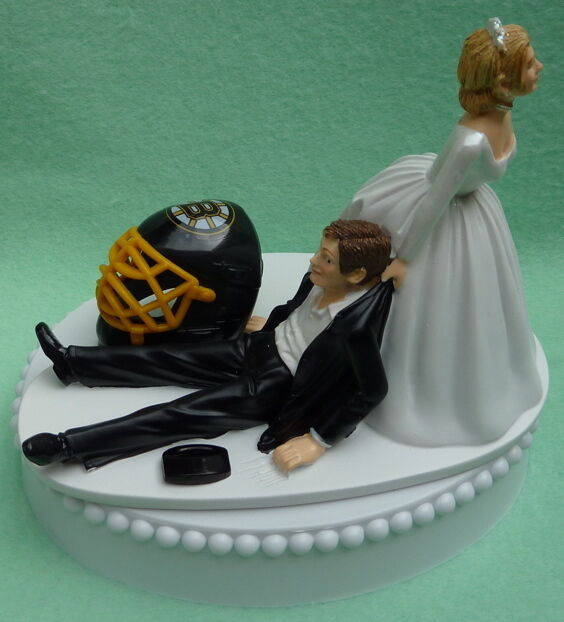 wedding cake toppers baseball theme wedding cake topper boston bruins hockey themed puck 26390