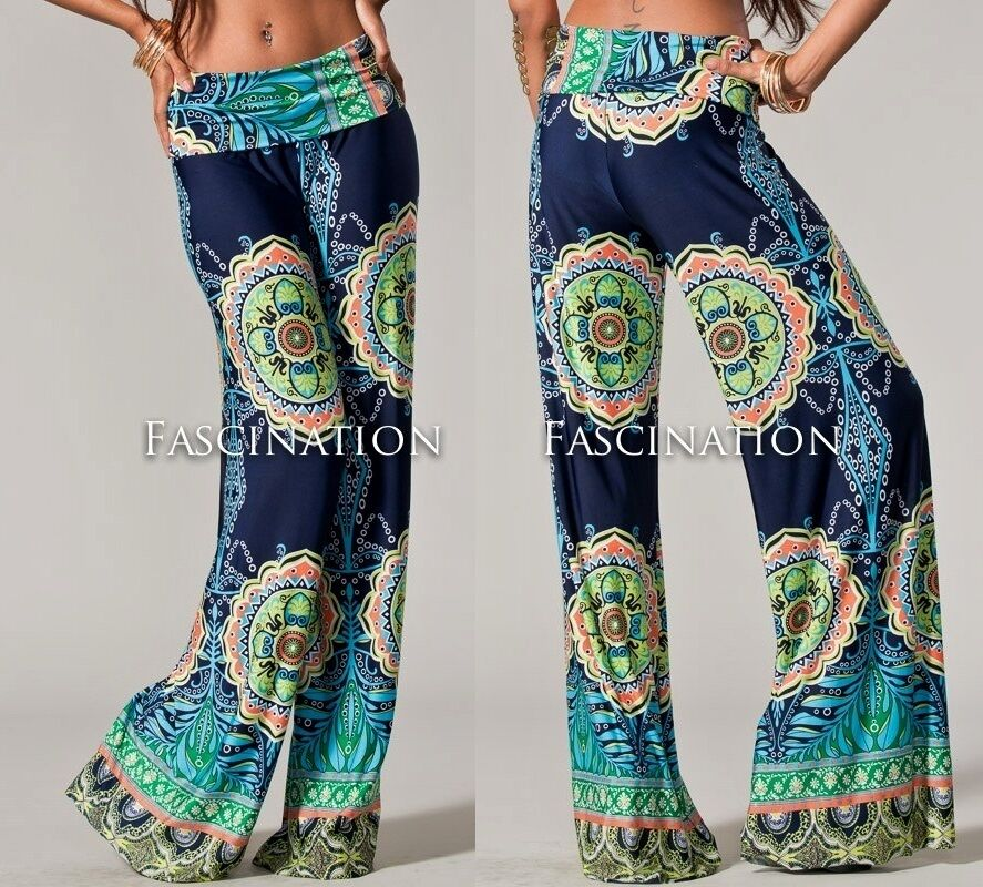 FOLDOVER NAVY BLUE HIPPIE 70s TRIBAL WIDE TALL JUP YOGA