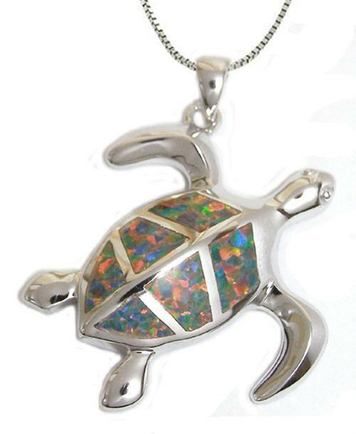 New 925 Sterling Silver Opal Sea Turtle Pendant Necklace