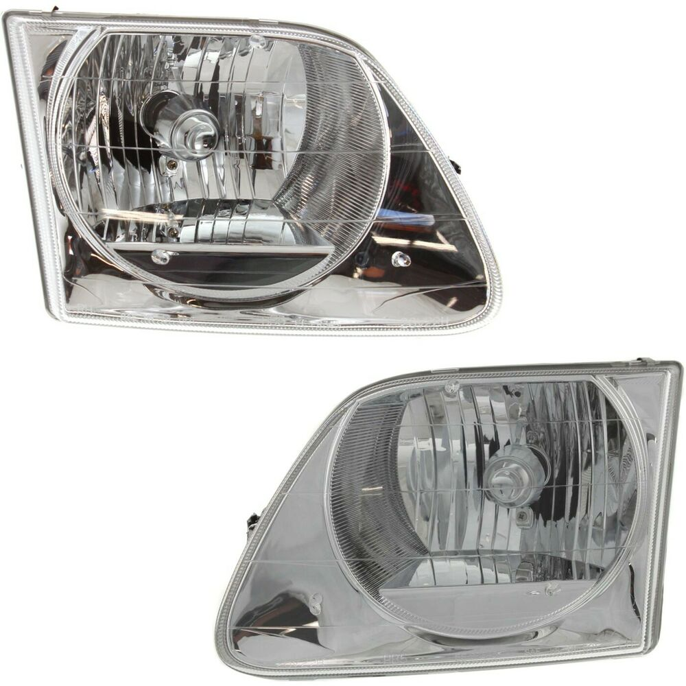 headlight set for 2001 2003 ford f 150 lightning left right side w bulb ebay. Black Bedroom Furniture Sets. Home Design Ideas