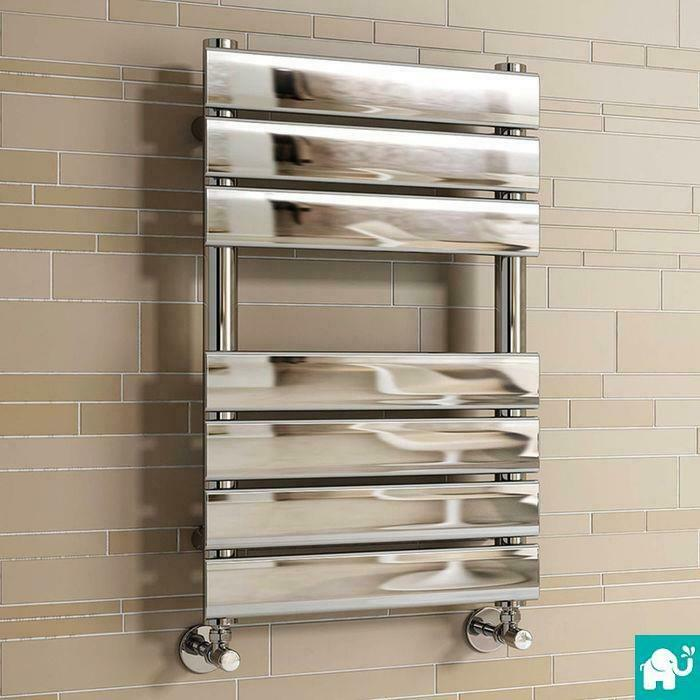 Chrome Designer Flat Panel Towel Rail Radiator Heated Bathroom Warmer 650x400 Mm Ebay