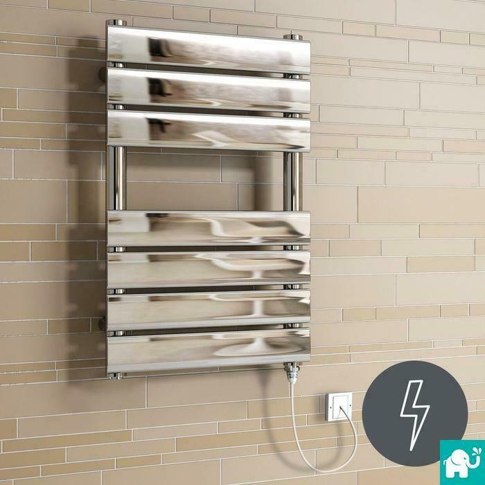 Alpine Modern Heated Towel Rail Warmer Chrome: Electric Chrome Flat Panel Towel Rail Radiator Heated