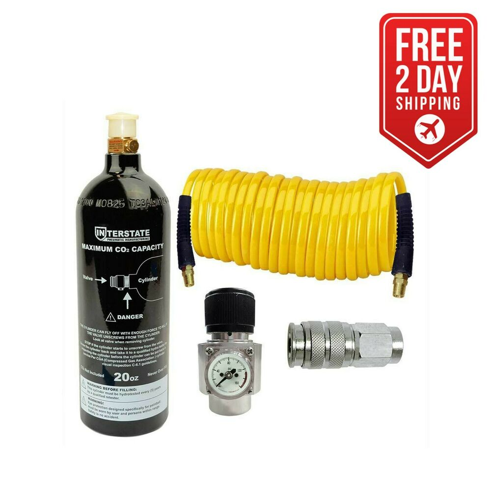 Co2 Regulator And Paintball Tank Recoil Hose And Coupler