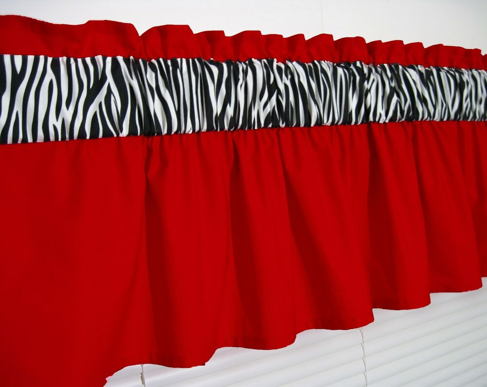 charming Red And Grey Valance Part - 8: 3 inch wide rod pocket ~ Solid Red and Zebra Window Curtain Valance Topper  | eBay
